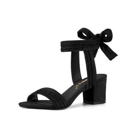 Women's Open Toe Back Ankle Tie Chunky Heel Sandals Black (Size 9)