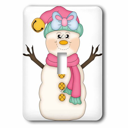 3Drose Cute Happy Snowman Girl With Blue Bow Illustration  2 Plug Outlet Cover