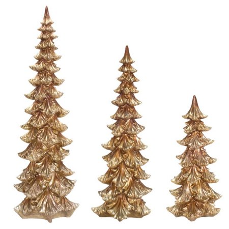 set of 3 decorative gold christmas tree table top decorations 30 - Christmas Tree Top Decorations