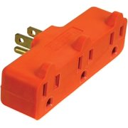 PowerZone Grounded Outlet Tap, 3 Outlet, Orange