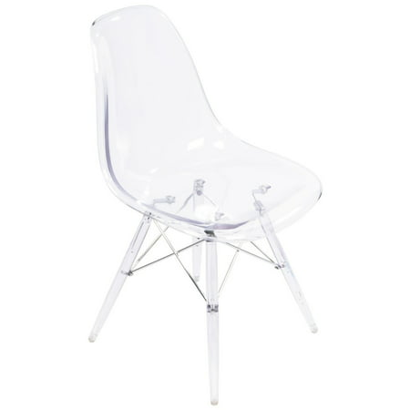 Transparent Clear - Modern Style Side Chair with Transparent Clear Legs Eiffel Dining Room Chair - Lounge Chair Seats Metal Dowel Leg - Eiffel Legged Base Molded Transparent Clear Seat Shell Top Base Clear Metal