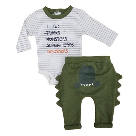 Infant Boys 2-Piece I Like Dinosaurs Long Sleeve Bodysuit & Pants Set - Dinosaur Onesie