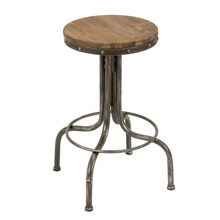 Excellent Decmode 17 X 28 Round Industrial Natural Wood Silver Adjustable Metal Bar Stool Ibusinesslaw Wood Chair Design Ideas Ibusinesslaworg