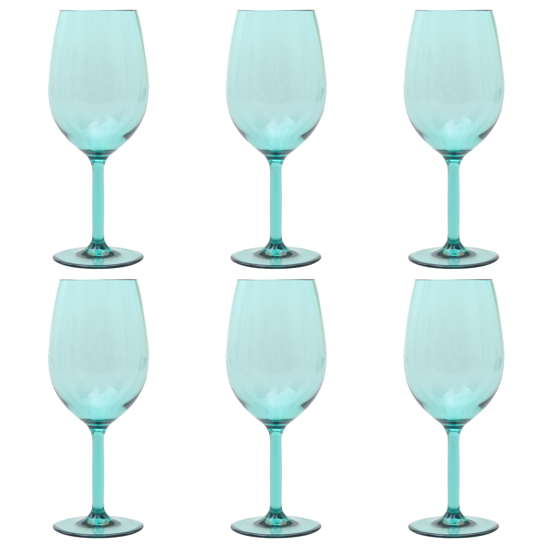 Mainstays 6-Piece Acrylic Stemmed Wine Set, Teal