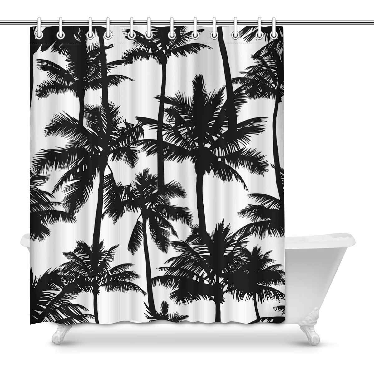 GCKG Black Vector Palm Trees Shower Curtain And White Polyester Fabric Bathroom Sets 60x72 Inches