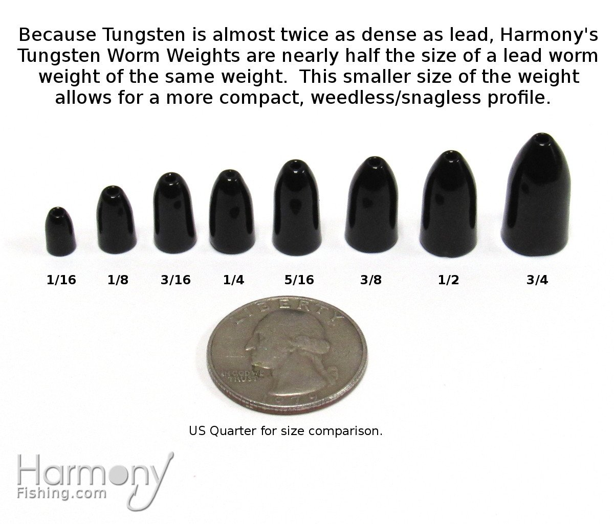 NEW Rock Bottom Tungsten Fishing Black Worm Weight 3//16 oz 5 Pack
