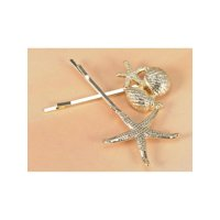 Golden Tone Metal Cute Simple Starfish Shells Two Hair Pin Set