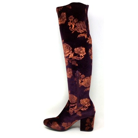 LFL Lust For Life Womens Andie 60 Over Knee Boot Burgundy Floral Stretch 6 M US ()
