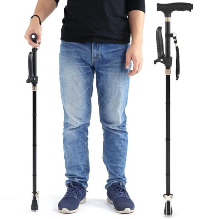 Ejoyous Aluminum Alloy Folding Elderly Walking Stick Guide