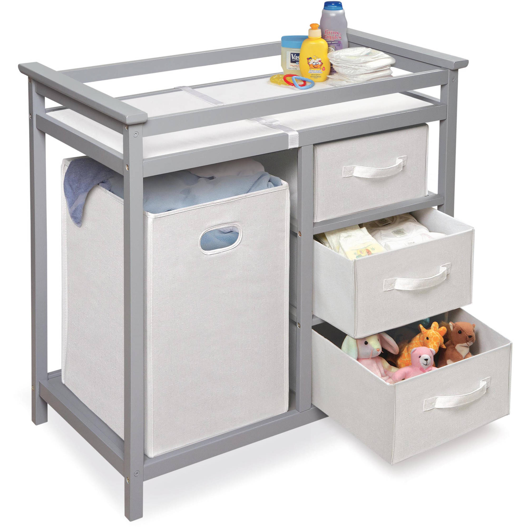 badger basket modern changing table with  baskets and hamper  - badger basket modern changing table with  baskets and hamper choose yourfinish  walmartcom