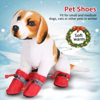 Ejoyous 4Pcs/set No Slip Pet Dog Shoes Boots Waterproof Dog Socks Soft Cotton Padded   , Pet Boots Waterproof, Dog Boots