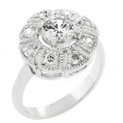Sunrise Wholesale J2225 05 White Gold Rhodium Antique Milligrain Style Queen Mary Ring
