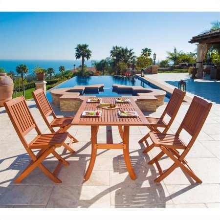 Malibu Outdoor 5-piece Wood Patio Dining Set with Curvy Leg Table & Folding Chairs ()