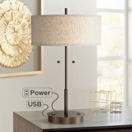 360 Lighting Modern Table Lamp with Hotel Style USB and AC Power Outlet in Base Bronze Fabric Drum Shade for Living Room Bedroom Office ()