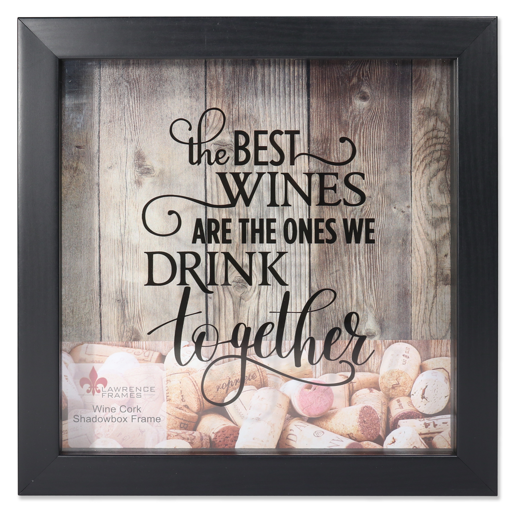 10x10 Black Shadow Box Wine Cork Holder