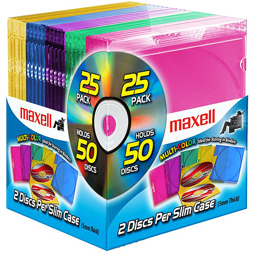 Maxell Multi-Color Double Slim Jewel Cases, 25-Pack