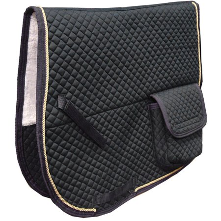 Dressage Saddle Pad with Pockets & Half Fleece Padding Black Dressage Saddle Pads