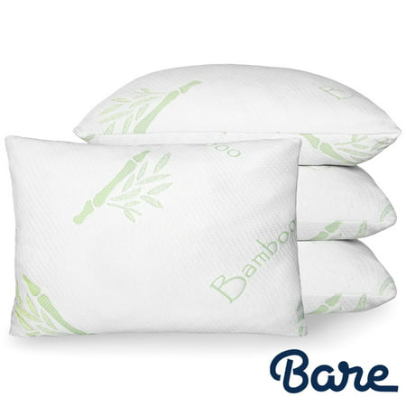 Bare Home – Luxury Shredded Memory Foam Pillow – Removable, Breathable & Cool, Hypoallergenic Premium Bamboo Cover – Fully Adjustable Support - (Standard, 4-Pack) (Cool Bamboo)