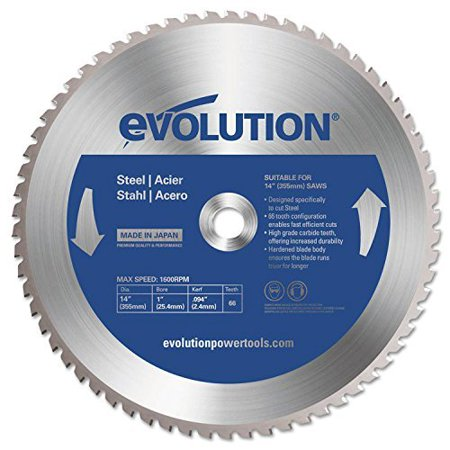 Evolution TCT Metal-Cutting Blades, 14 in, 1 in Arbor, 1,600 rpm, 66 Teeth