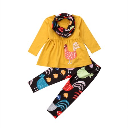 Toddler Baby Girl Thanksgiving Turkey Printed Long Sleeve Tops Pants Outfits - Turkey Trot Outfits