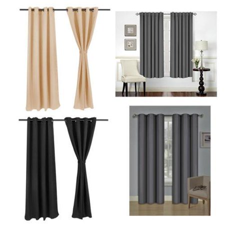 Ktaxon 99% Blackout Curtain|Thermal Insulated Noise Proof 100% Dacron Heavy Silky Drapes (2 Panels Set)