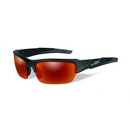 Wiley X WX Valor Men's Sunglasses, Polarized Crimson Mirror (Grey) Lens / Matte Black Frame - (Wiley X Polarized Fishing Sunglasses)