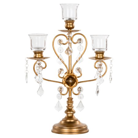 Amalfi Décor Vintage 3 Light Crystal-Draped Metal Candelabra Centerpiece (Gold) | Stainless Steel Frame with Glass Crystals