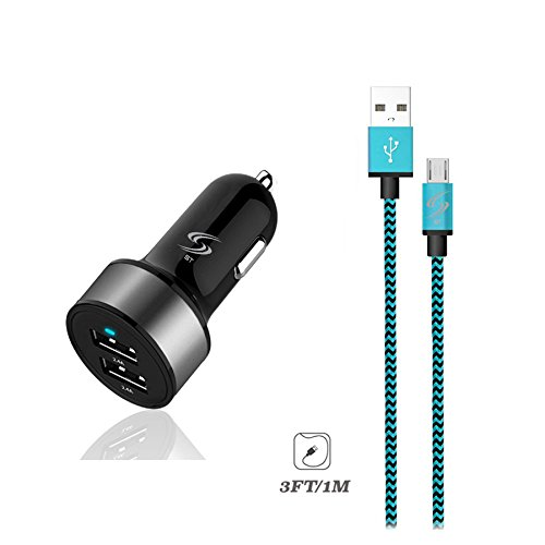 StyleTech Inc. Nylon Braided Series 3 Feet Micro-USB Syncing/Charging Data Cable with Dual-Port 2.1A Car Charger