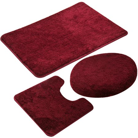 3 Piece Bath Rug Set Burgundy Non Slip Solid Pattern Bathroom 20 X31 Large Contour Mat X20 With Lid Cover 18