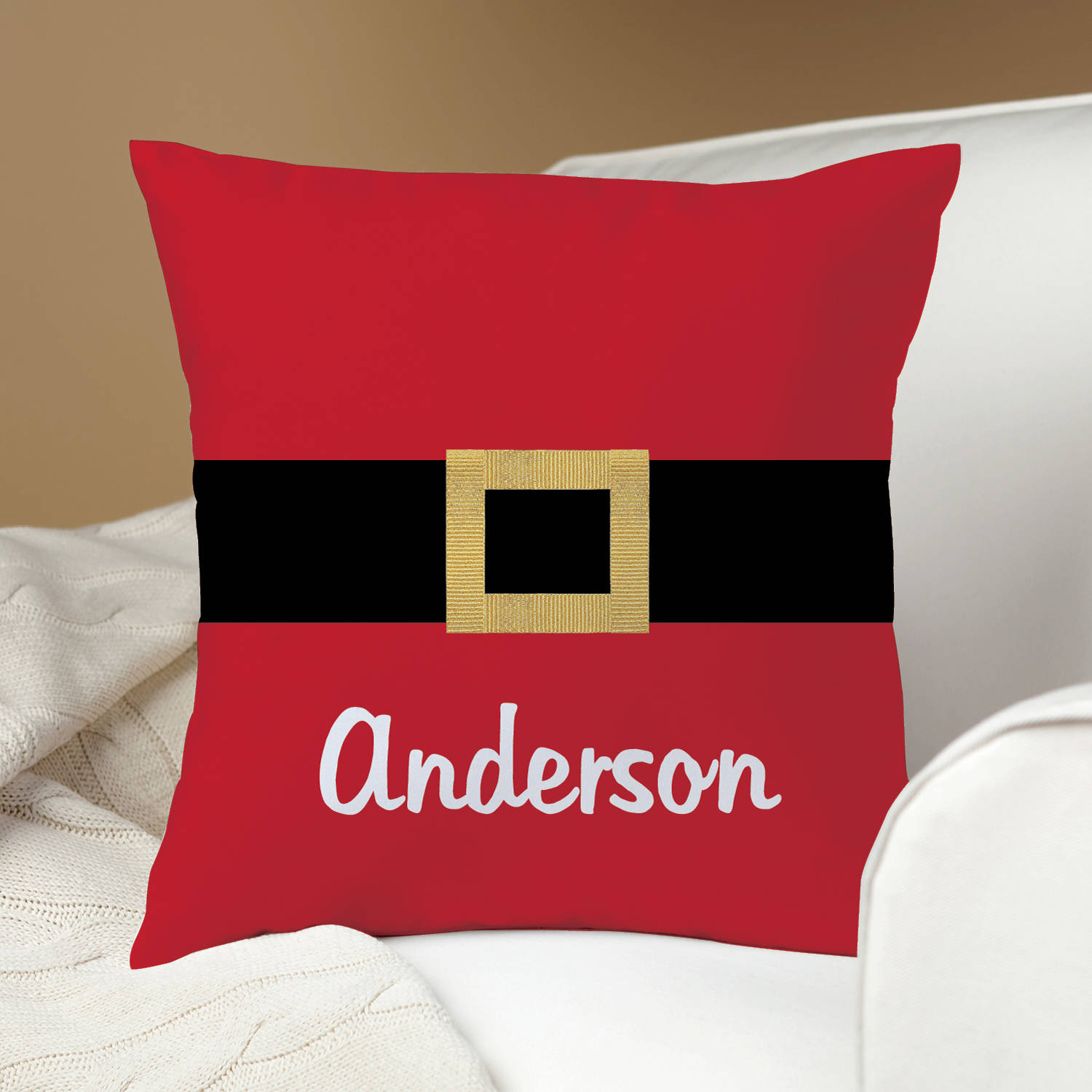 Santa's Belt Personalized Pillow