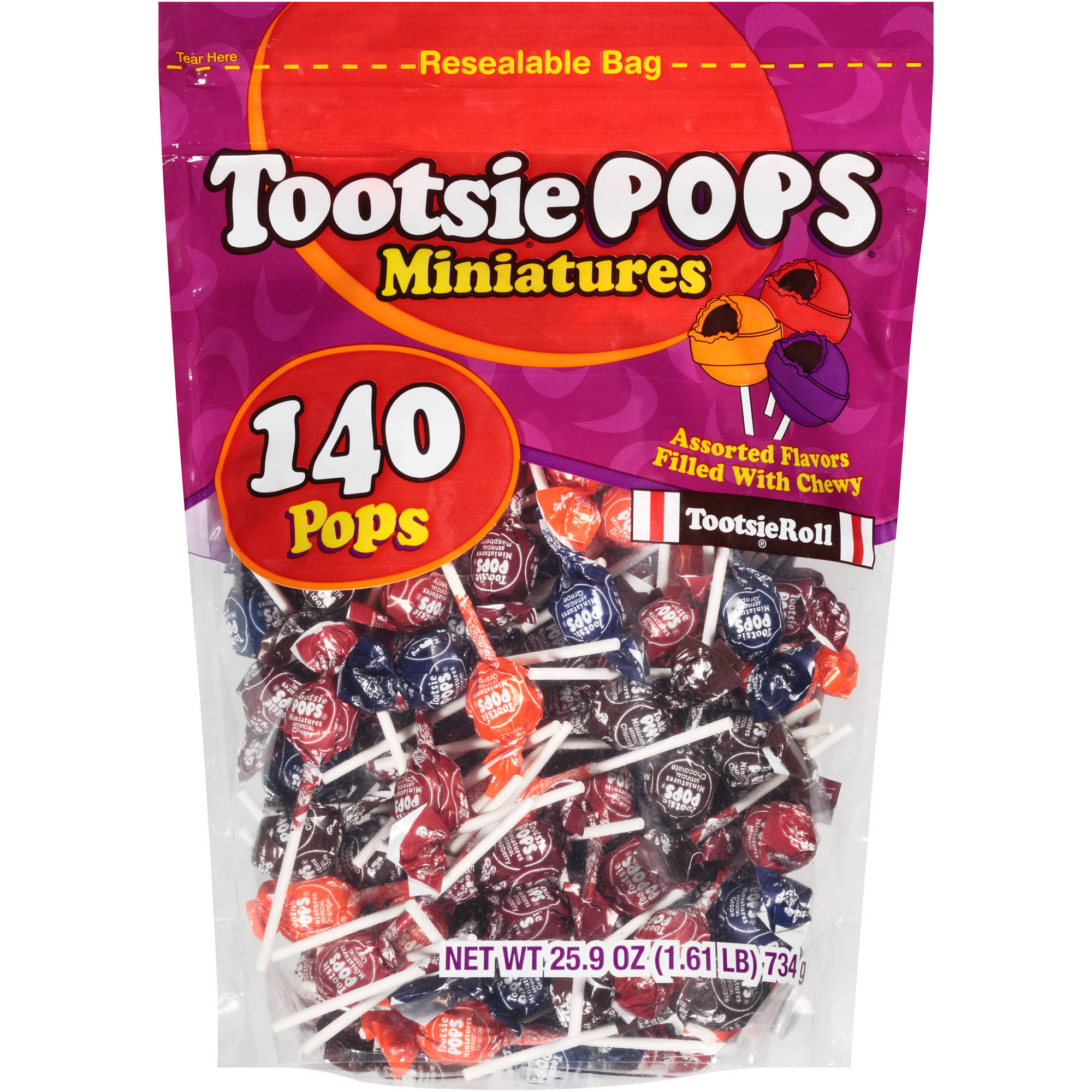 Tootsie Pops Miniatures Lollipops, 140 count, 25.9 oz