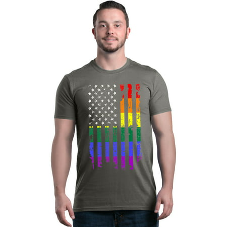 Shop4Ever Men's Distressed Rainbow Flag Gay Pride Graphic T-shirt