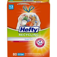 Hefty Clear Recycling Tall Kitchen Trash Bags, 13 Gallon, 80 Bags (Scent Free)