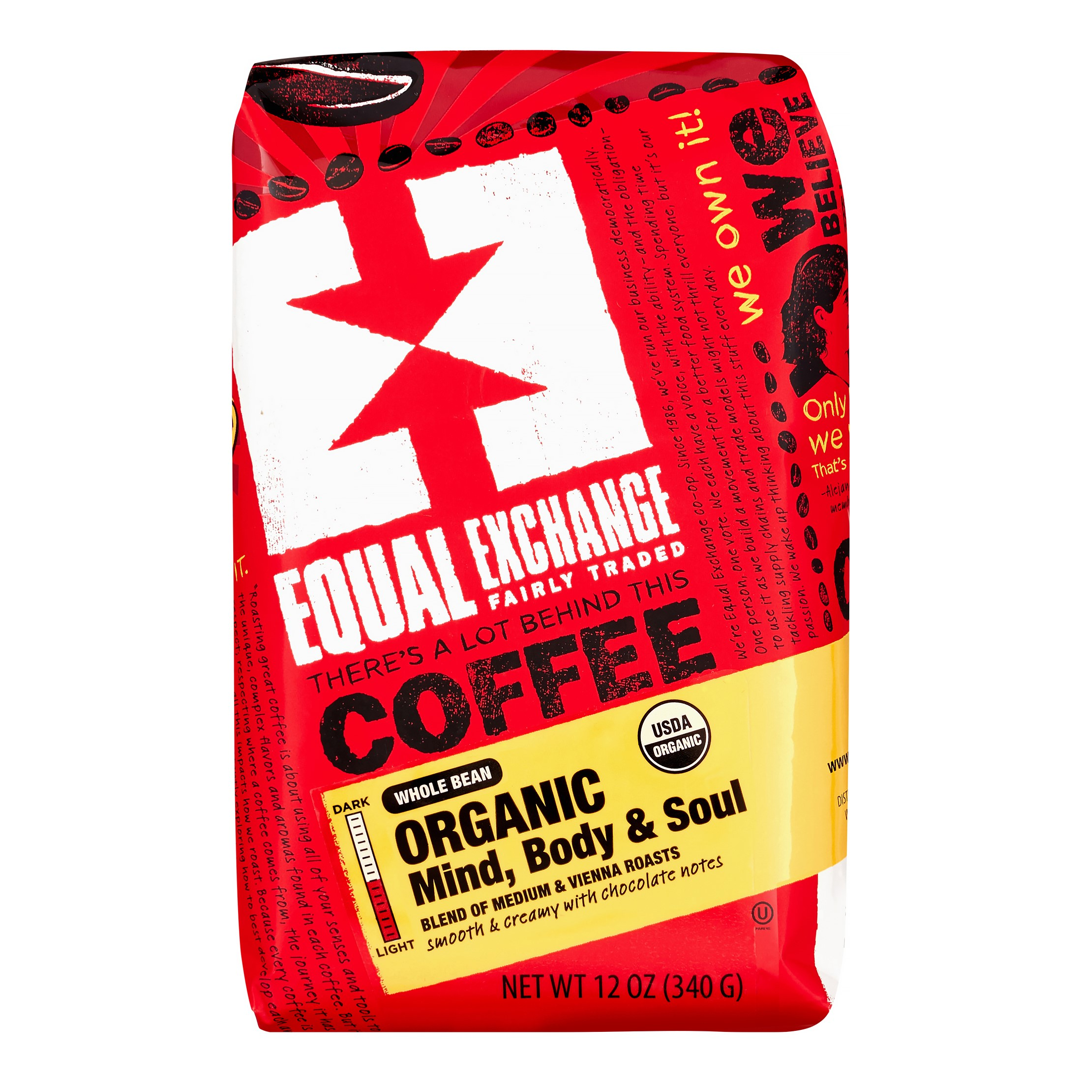 Equal Exchange Mind Soul Whole Bean Coffee 12 Oz -Pack of 6