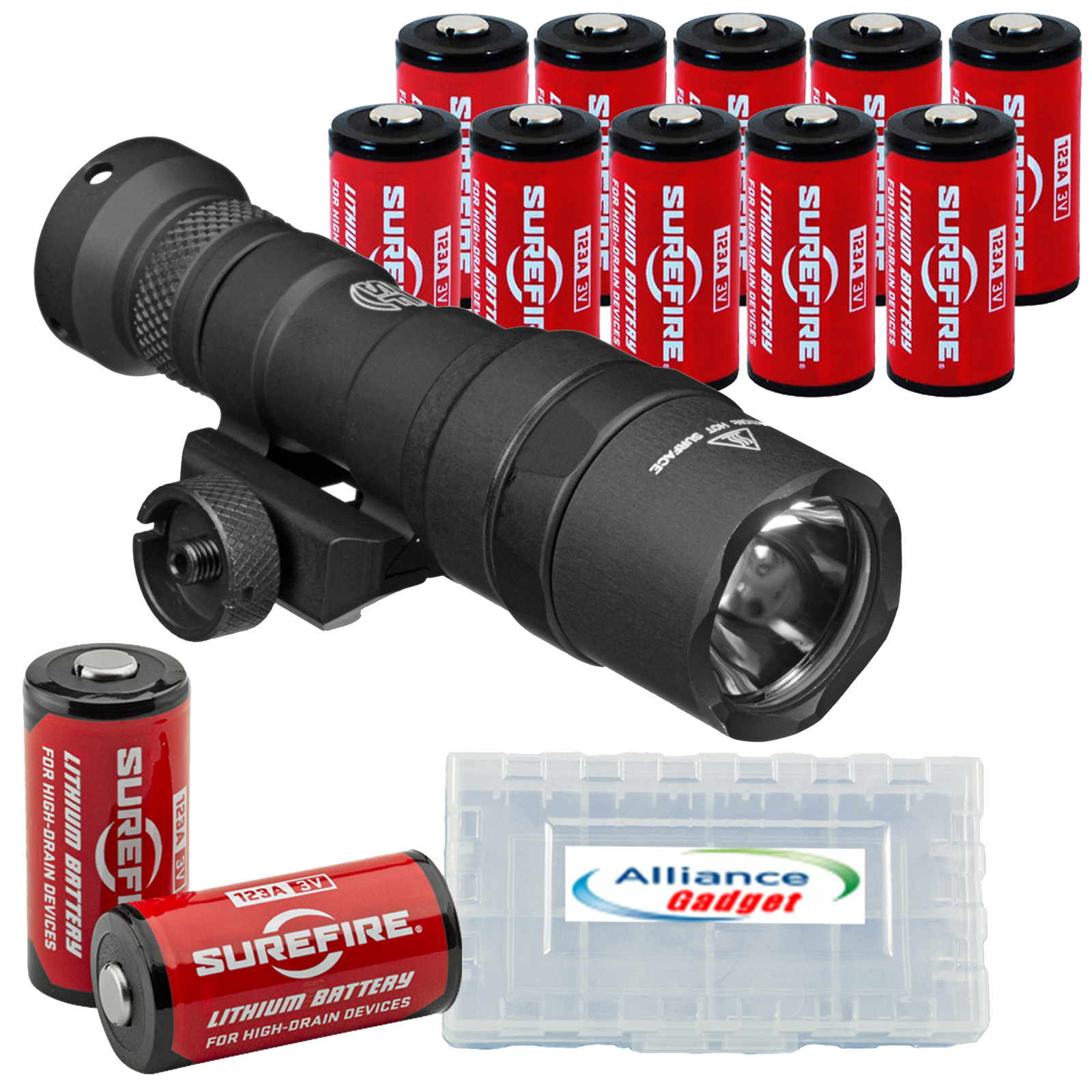 SureFire M300 Ultra Compact Mini Scout LED WeaponLight 300 Lumens with 12x Extra Surefire CR123A Batteries and 3 Battery Cases