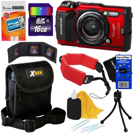 Digital Cameras Gps - Olympus Tough TG-5 Waterproof, Shockproof, Freezeproof & Crushproof Wi-Fi Digital Camera with GPS & HD 4K Video (Red) + 8pc 16GB Acc Kit w/ HeroFiber Cleaning Cloth