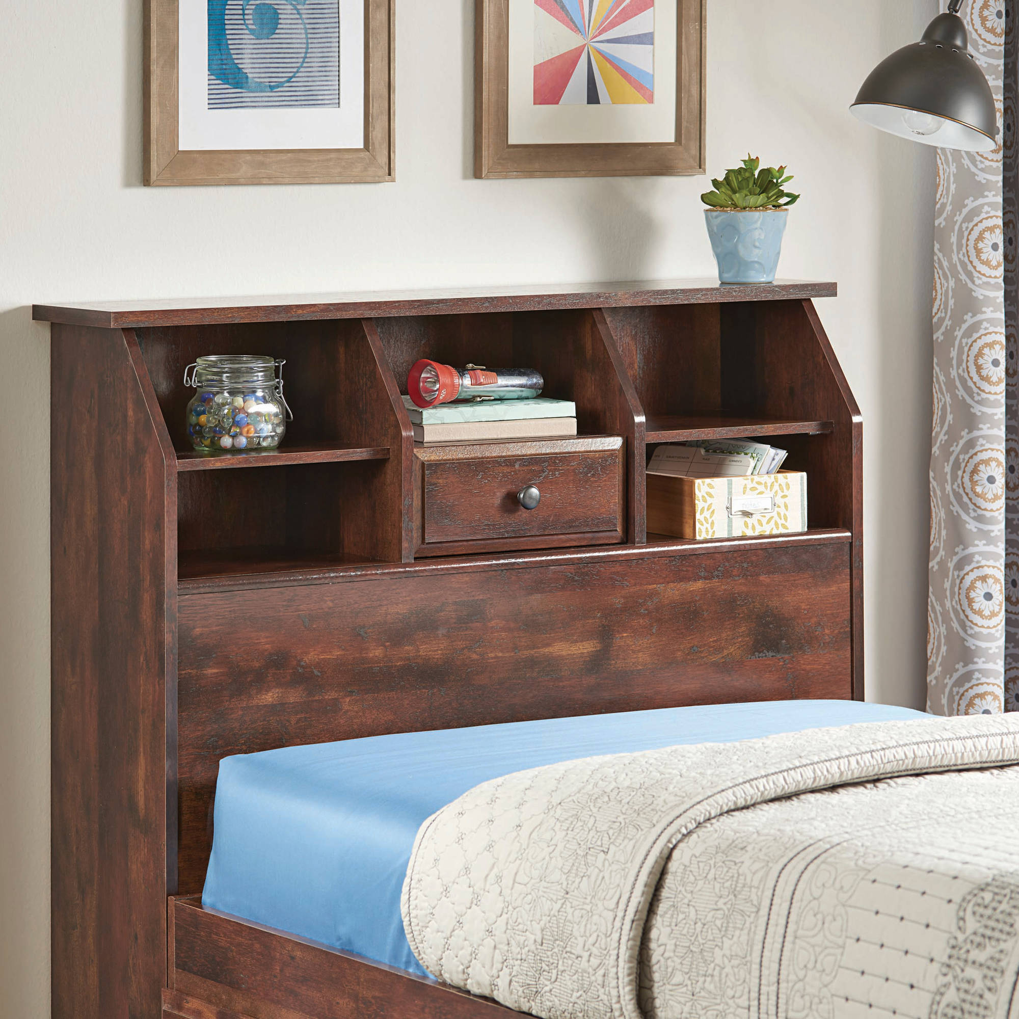 Better Homes and Gardens Leighton Twin Bookcase Headboard, Rustic Cherry Finish