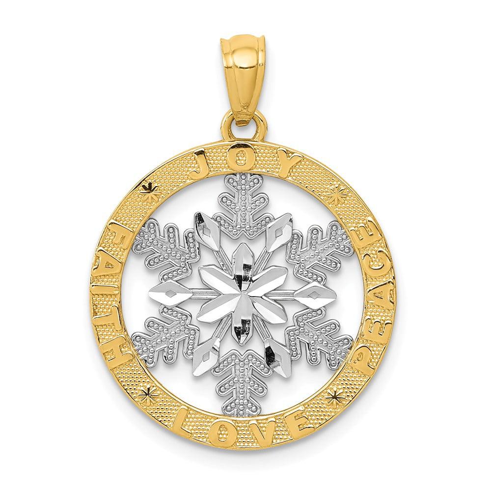 14K Yellow Gold and Rhodium Joy/Peace/Love/Faith Snowflake Pendant