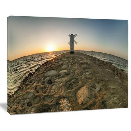 Design Art Lighthouse Windmill Stawa Mlyny Seashore Photographic Print on Wrapped