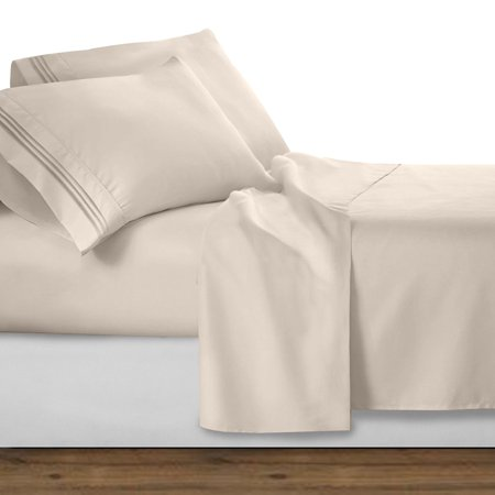 Count Linen - Luxury Bed Sheet Set ! Celine Linen Chain Design 1500 Thread Count Egyptian Quality Wrinkle and Fade Resistant 4-Piece Bed Sheet set, Deep Pocket, HypoAllergenic - California King, Cream