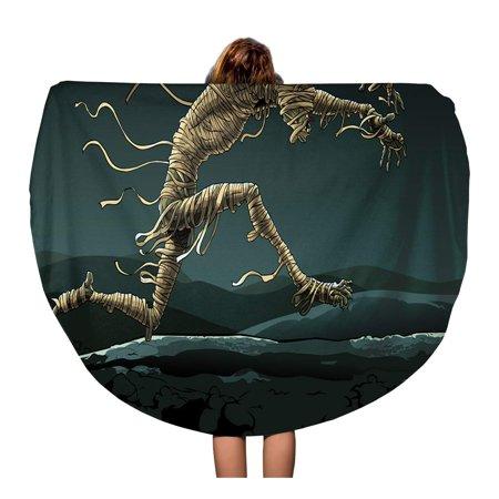 SIDONKU 60 inch Round Beach Towel Blanket Halloween Mummy Runs Through The Desert Night Egypt Horror Travel Circle Circular Towels Mat Tapestry Beach Throw](Run 3 Halloween Horror Nights)