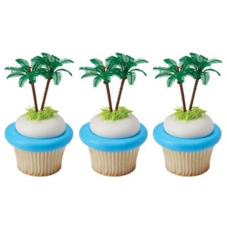 Bag of 12 ~ Palm Tree Picks ~ Cake / Cupcake Topper, palm tree cake tropical summer luau By Quantumchaos Media