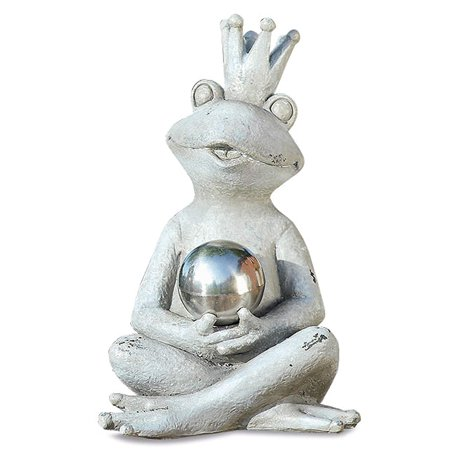 Yogi Frog Prince Garden Statue Holding Mirror Ball, Seated, Rustic Gray, Stone Textured Patina, Hand Cast Polyresin, 6 3/4 L x 4 1/4 W x 7 H Inches, Weather Resistant, Outdoor Figure ()