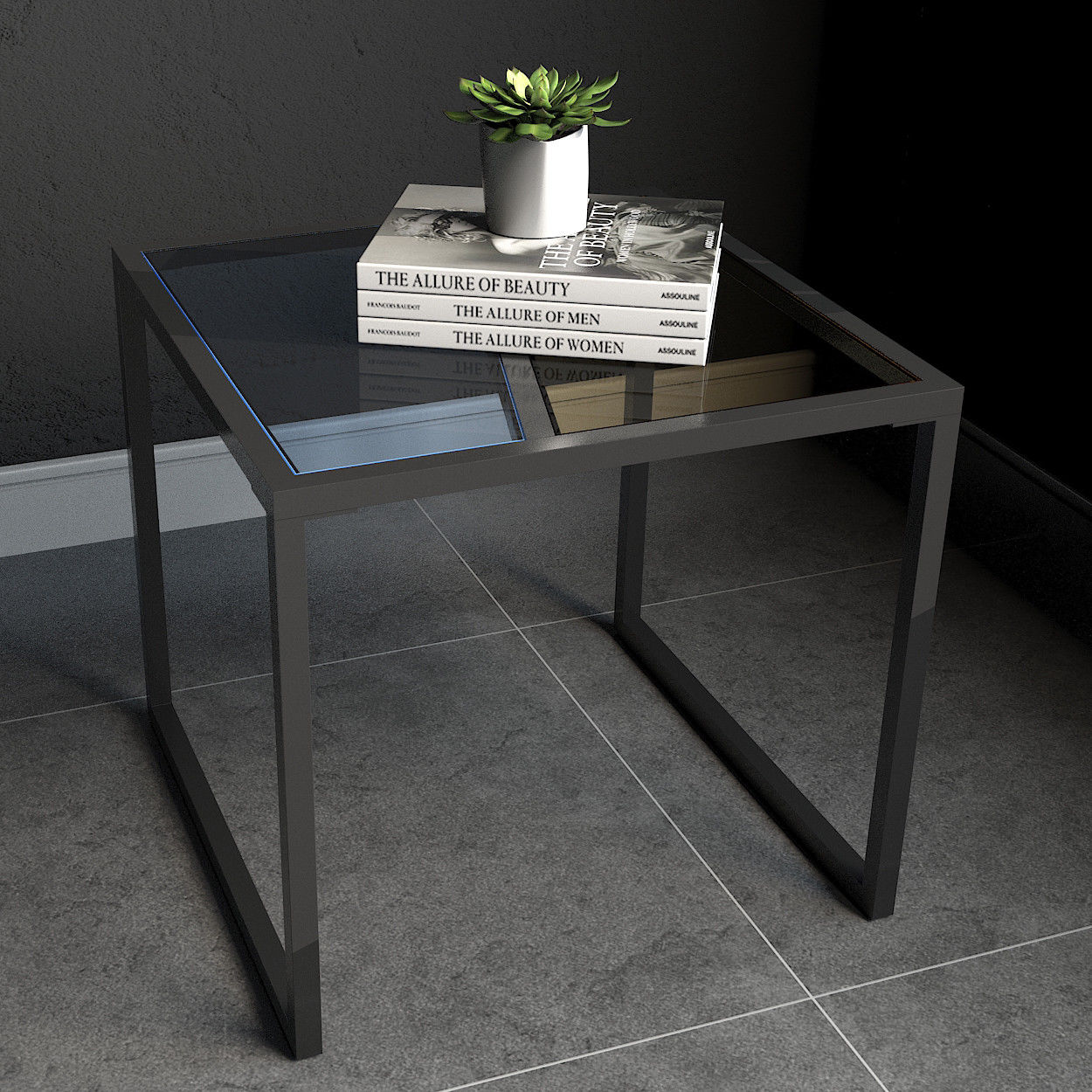 Costway Square Side End Table Tempered Glass Top Metal Frame Living Room  Furniture c01f011bb8