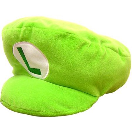 New Super Mario Bros Wii Luigi Pillow Hat Plush (Mario And Luigi Party Hats)