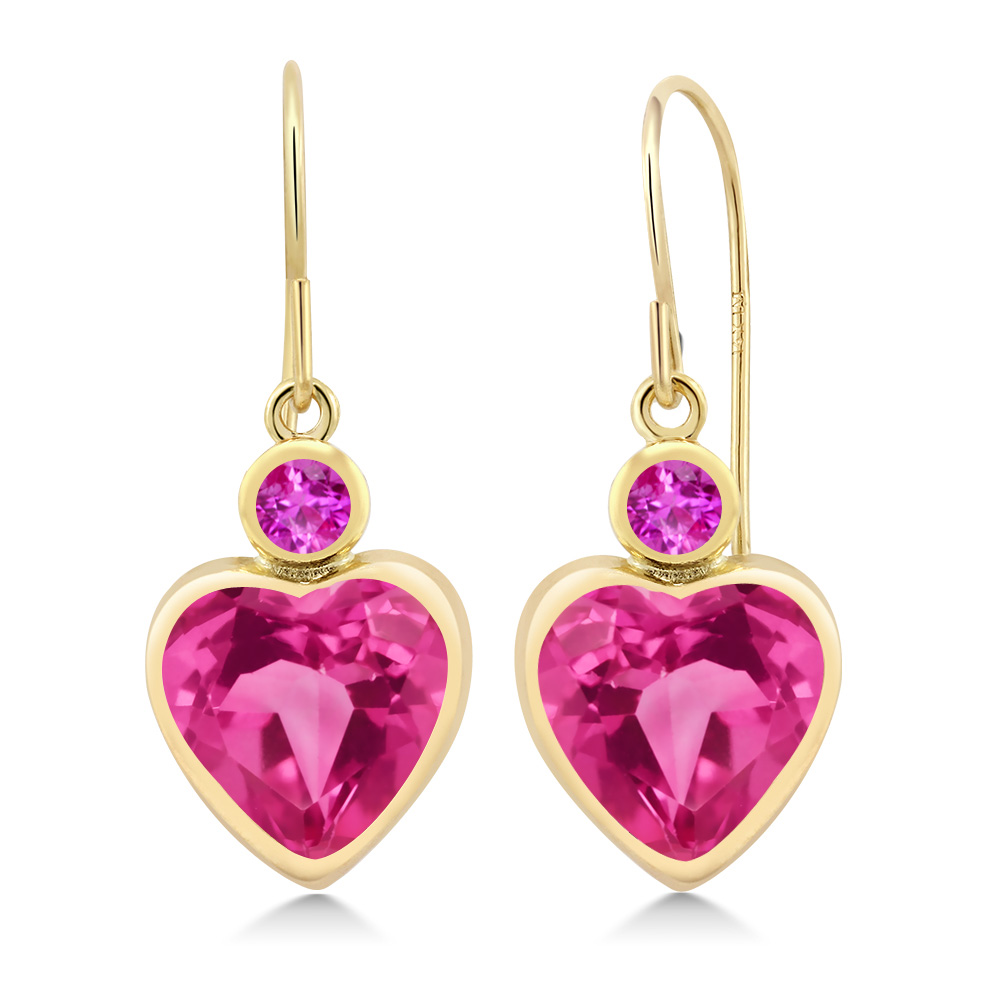 5.12 Ct Heart Shape Pink Created Sapphire Pink Sapphire 14K Yellow Gold Earrings by