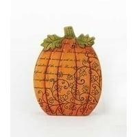 "6.75"" Thanksgiving Autumn Harvest Orange Pumpkin Decoration with Inspirational Verse"