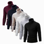 Mens Winter Warm Knitted High Roll Turtle Neck Pullover Sweater Jumper Tops