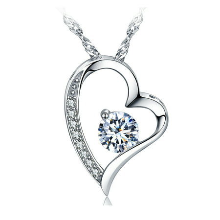 Emma Manor 14K White Gold Plated Forever Lover Heart Pendant Necklace For Women