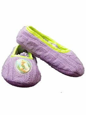 Disney Fairies Tinker Bell Purple Toddler Girls Slippers Loafer House Shoes